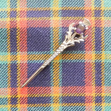 Thistle kilt pin with purple stone