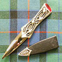 Matte Pewter Sgian Dubh with Red Stone