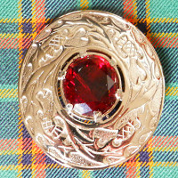 Polished Thistle & Red Stone Plaid Brooch