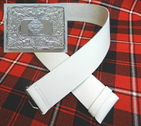 Celtic Cross White Kilt Belt