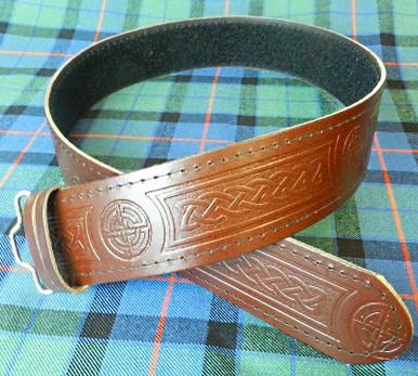 Brown Celtic Knot Kilt Belt