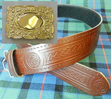 Gold Buckle and Brown Celtic Kilt Belt