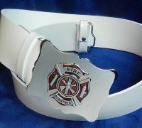 White Fire Department PVC Belt & Buckle