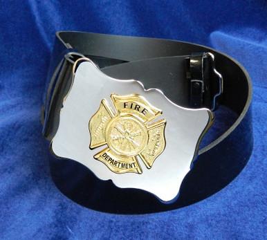 Black PVC Fire Department Belt & Buckle