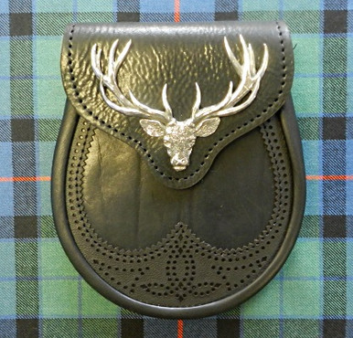 Stag Head Sporran in black