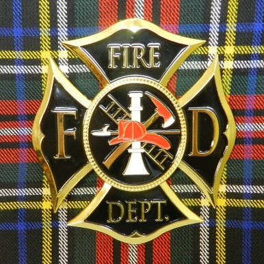 Black & Gold Firefighters Cap Badge