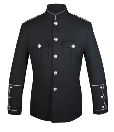 Black Honor Guard Jacket w/ Silver Trim