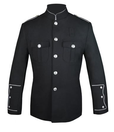 Black Honor Guard Jacket w/ Silver Trim