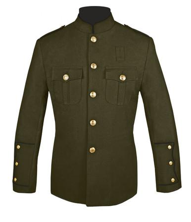 Olive Honor Guard Jacket w/ Black Trim