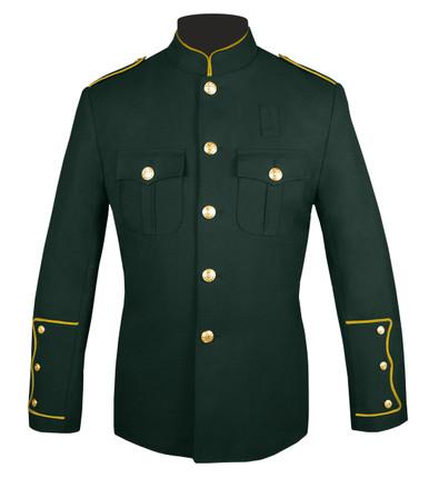 Dark Green Honor Guard Jacket w/ Gold Trim
