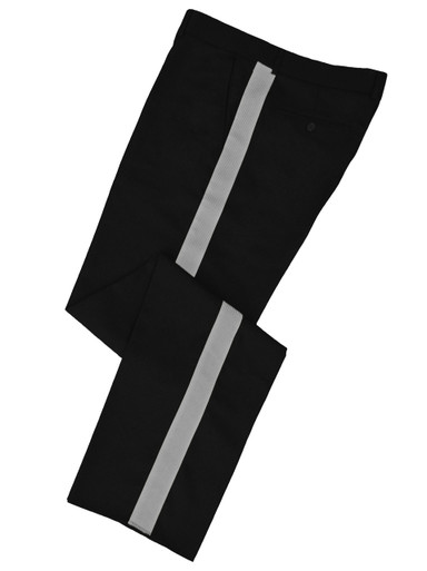 Black w/ Silver Stripe Honor Guard Pants