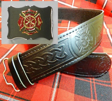 Red & Gold Maltese Buckle with Maltese Embossed Belt