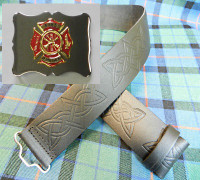 Red & Gold Maltese Buckle on Embossed Kilt Belt