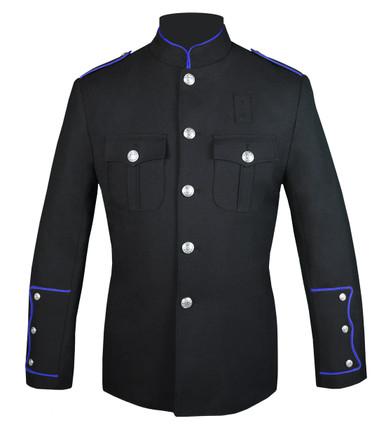 Black Honor Guard Jacket w/ Royal Blue Trim
