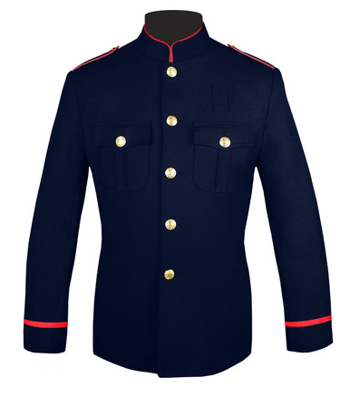 Navy & Red Honor Guard Jacket with Trimmed Sleeves
