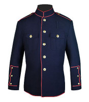 Navy Firefighters High Collar Jacket w/ Full Trim