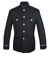 Black High Collar Jacket with Columbia Blue Trim