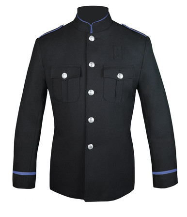 Black High Collar Jacket with Columbia Blue Trim