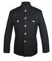 Black High Collar Coat with Columbia Blue Trim