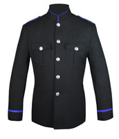 Black Honor Guard Jacket w/ Royal Blue Trim