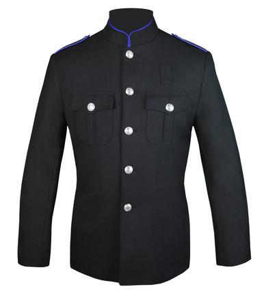 Black Honor Guard Jacket w/ Royal Blue Trim Plain Sleeve