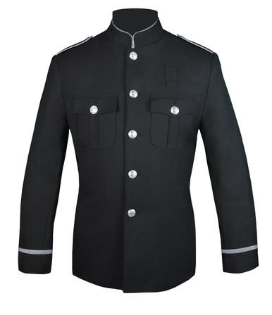 Black Honor Guard Jacket w/ Silver Trim Flat Trim Sleeve