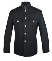 Black Honor Guard Jacket w/ Silver Trim Plain Sleeve