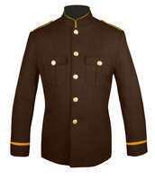 High Collar Honor Guard Coat (Brown/Gold) with flat trim sleeves