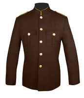 High Collar Honor Guard Coat (Brown/Gold) with plain sleeves