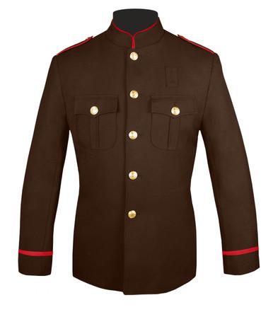 Hi Collar Honor Guard Coat (Brown & Red) Flat Trim Sleeves
