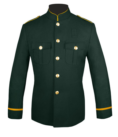 Dark Green Honor Guard Jacket w/ Gold Flat Trim Sleeves