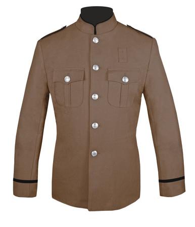 Hi Collar Tan and Black Coat