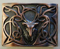 Stag Kilt Buckle Chocolate Brown