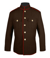 Brown and Red High Collar Coat