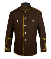 Brown and Gold High Collar Coat