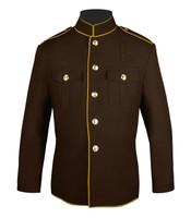 Brown gold High Collar Jacket