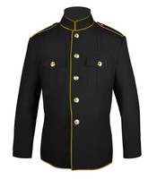 Black and Gold High Collar Jacket