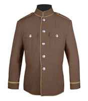 Tan and beige high collar jacket