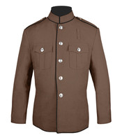 Tan and black High Collar trimmed jacket