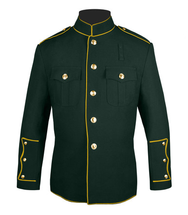 Dark Green and Gold High Collar Jacket