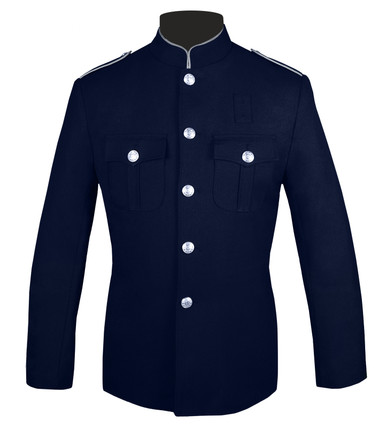 Navy and Silver High Collar Jacket