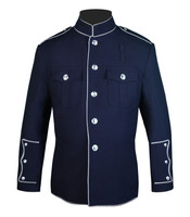 High Collar Jacket (Navy and Silver)
