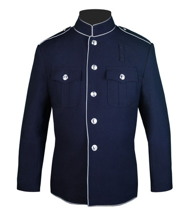 Navy and silver High Collar Coat