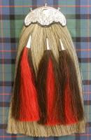 Grey Horsehair sporran with red/black tassles