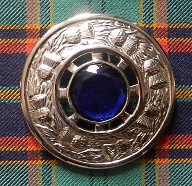 Plaid Brooch Blue Stone
