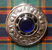 Plaid Brooch Blue Stone