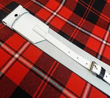 White Leather Kilt Belt Back View