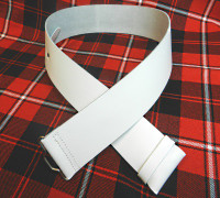 White Leather Kilt Belt