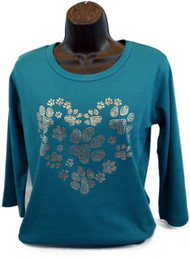 Sparkly Teal Paw Print Long-Sleeve