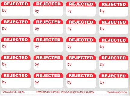 Red Rejected By Labels